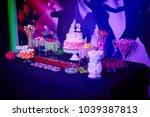 bat mitzvah birthday cake with... | Shutterstock . vector #1039387813