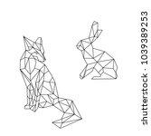 linear illustration   animals.... | Shutterstock .eps vector #1039389253