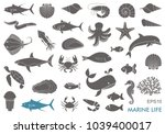 silhouettes of sea inhabitants. ... | Shutterstock .eps vector #1039400017