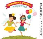 children in carnival costumes ...   Shutterstock .eps vector #1039401973