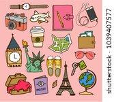 set hand draw travel doodles ... | Shutterstock .eps vector #1039407577