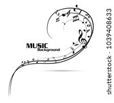 abstract music notes on line... | Shutterstock .eps vector #1039408633