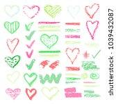 set of chalk vector textures.... | Shutterstock .eps vector #1039432087