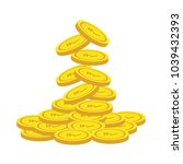 rupee gold coin stack.... | Shutterstock .eps vector #1039432393