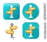 crossroad direction icon - vector road sign - directional arrows symbol