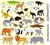 collection of different animals ... | Shutterstock .eps vector #1039436947