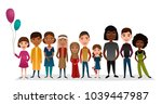 group of smiling children... | Shutterstock . vector #1039447987