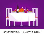 table with tasty dishes and two ... | Shutterstock .eps vector #1039451383