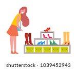 woman near big shoes rack full... | Shutterstock .eps vector #1039452943