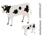 cow and calf with black spots... | Shutterstock .eps vector #1039453147