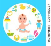 toddler infant in diaper with...   Shutterstock .eps vector #1039453237