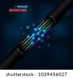 fiber optic cable connecting... | Shutterstock .eps vector #1039456027