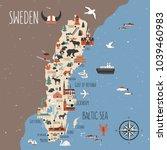 Sweden cartoon vector travel map, Swedish landmark flat building, City Hall of Stockholm, Synagogue of Malmoe, Water tower of Orebro, Church of Christina of Gotenborg, Uppsala Cathedral, Kalmar castle | Shutterstock vector #1039460983