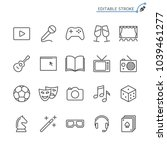 entertainment line icons.... | Shutterstock .eps vector #1039461277