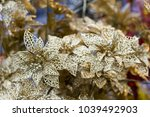 close up gold plastic flowers  | Shutterstock . vector #1039492903