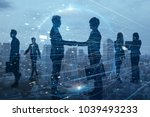 Small photo of Silhouettes of group of businessperson. Global business network concept.