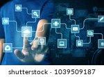 businessman press virtual screen | Shutterstock . vector #1039509187
