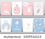set of baby shower invitations... | Shutterstock .eps vector #1039516213