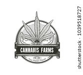 cannabis leaf with hands logo.... | Shutterstock .eps vector #1039518727
