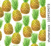 pineapples painted with... | Shutterstock . vector #1039539073