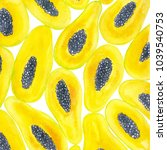 papaya slices painted with... | Shutterstock . vector #1039540753