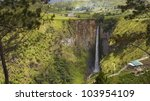 Sipiso piso waterfall in Danau Toba, North Sumatra, Indonesia. - stock photo