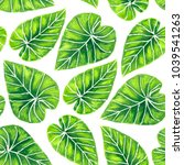 tropical leavespainted with... | Shutterstock . vector #1039541263