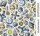cartoon hand drawn space ... | Shutterstock .eps vector #1039552033
