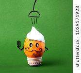 fruit orange in soap foam under ... | Shutterstock . vector #1039571923