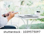 start up partners are working... | Shutterstock . vector #1039575097