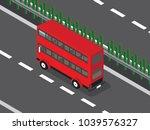 red double decker in the highway | Shutterstock .eps vector #1039576327