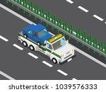 wrecker truck in the highway  | Shutterstock .eps vector #1039576333