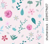 spring flowers and leaves... | Shutterstock .eps vector #1039579657
