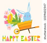 cute vector card with easter... | Shutterstock .eps vector #1039602547