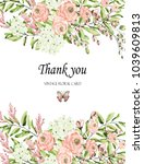 floral frame with pink roses... | Shutterstock . vector #1039609813