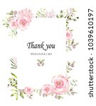 floral frame with pink roses... | Shutterstock . vector #1039610197