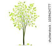 tree with green leaves on white ... | Shutterstock .eps vector #1039624777