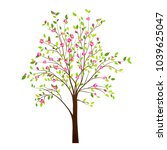 spring tree with flowers... | Shutterstock .eps vector #1039625047