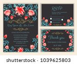 vector set of invitation cards... | Shutterstock .eps vector #1039625803