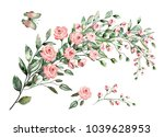 watercolor drawing of twig with ... | Shutterstock . vector #1039628953