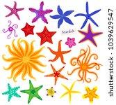 sea stars set. multicolored... | Shutterstock .eps vector #1039629547