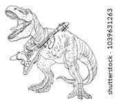 tyrannosaurus playing guitar.... | Shutterstock .eps vector #1039631263