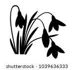 black silhouette of spring... | Shutterstock .eps vector #1039636333