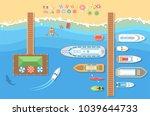 beach top view   modern vector... | Shutterstock .eps vector #1039644733
