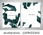 Greenery greeting/invitation card template design, dark green leaves with white square frame on white background | Shutterstock vector #1039653343