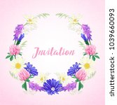 cute invitation with floral... | Shutterstock . vector #1039660093
