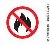 no fire sign icon. hazard... | Shutterstock .eps vector #1039661257