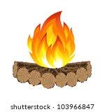 Fuego de campamento de madera