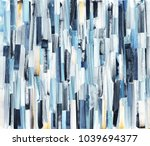 Stock photo abstract art background with multicolor stripes and teals ink texture on paper 1039694377