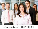 business woman with her team at ... | Shutterstock . vector #103970723